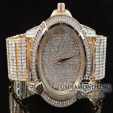 MEN'S NEW ROSE GOLD FINISH CUSTOM 13 ROW CLEAR LAB DIAMOND WRIST WATCH ICED OUT