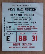 Tickets West Ham United London-Dynamo Tiflis 1981