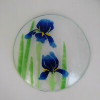 Vintage Signed Travis Fused Fusion Art Glass Handcrafted Plate Iris Floral 8.5