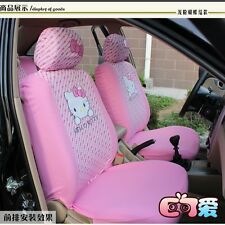 Pink 10PCs Hello Kitty Auto/Car Seat Covers Set Cushions Washable For 4 Seasons