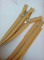 """Ykk Light Mustard Metal Jean Zipper Close Bottom 17-1/2"""" 2 Pc #5"""