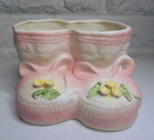 VELCO Vintage Planter Booties Baby Girl Nursery Decor Pink Yellow Green Flowers