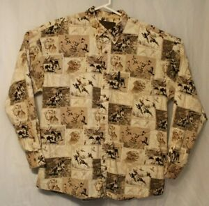 North River Outfitters Men's XL Button Collar Long Sleeve Cotton Dog & Birds