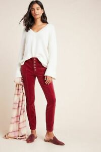 Anthropologie Pilcro High Rise Skinny Cords Corduroy Pants Red W25 UK 6 BNWT £90