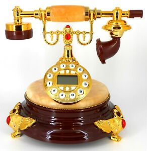 Retro style push button dial desk telephone (onyx) / Home decorative