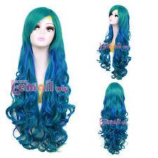 Harajuku 31'' Long Mixed Teal Green  Blue Curly Wavy  Lolita Sweet Cosplay Wig