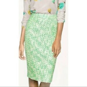 J.Crew No. 2 Green Tweed Pencil Skirt, size 8