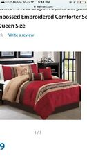 Sylvia 7 Pc Red Taupe Queen Comforter Bedding In A Bag New!!!!