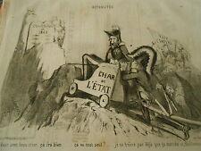 Litho 1850 - Char de L'état ca  ira bien ca va tout seul !