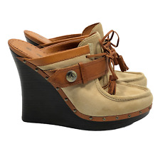 L.A.M.B. LAMB by Gwen Stefani Euclid Wedge Mules US 9.5, EU 41.5 Suede/Leather