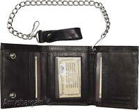 men's genuine leather Black trifold chain wallet motorcycle trucker biker wallet