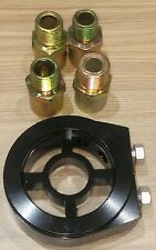 Oil filter sandwich plate adapter, universal, pressure - temp sensor black
