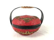 Vintage Delicate Chinese Flower Decorated Red Black Gold Lunch Basket w Handle