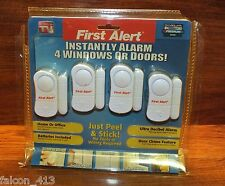 (4) First Alert Premium Home Security For Windows or Doors - Alarm System *READ*