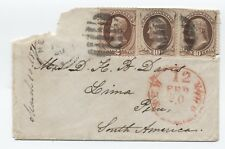 1871 New York to Lima, Peru 2x 10ct banknote cover [y1201]