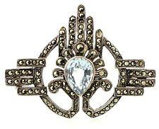 Vintage Deco Sterling-Silver Marcasite Blue Topaz Brooch/Pin - Rare