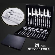 24pcs Silverware Set Stainless Steel Flatware Large Cutlery Kitchen Dinnerware