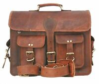 Vintage Leather Briefcase Business Laptop Attache Messenger Portfolio Bag Brown