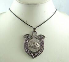 Fashion Retro antique SILVER Charm Shield Pendant Charm Leather Necklace