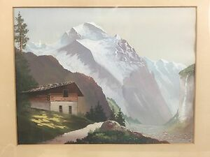 Very Nice orig. 19th Century signed G. Lang Swiss Apls Gouache Painting