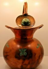 LOS CASTILLO HAND WROUGHT MIXED METALS PITCHER WITH MALACHITE FROG