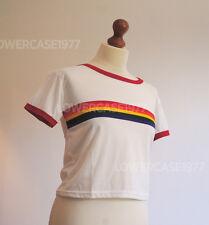 Retro Roller disco rainbow stripe semi-cropped t-shirt,- size 10 UK ,Red