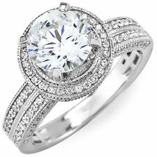GIA Certified Diamond Engagement Ring 2.50 Carat Round Cut 18k Gold