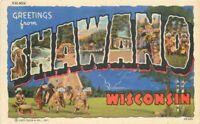 Large Letters Shawano Wisconsin linen Publishers Teich 1958 Postcard 20-6403