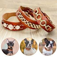 Best Real Leather Pet Puppy Dog Collars Rhinestones Jack Russell Pug Beagle S M