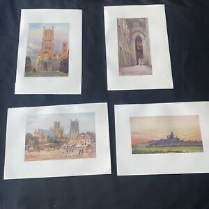 1905 4 x Ely Cathedral Collins Cathedral Cities Original Antique Print