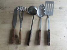 Vintage Stainless Steel Wooden Handle Kitchen Utensils x 5