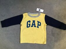 GAP LONG SLEEVE T.SHIRT IN YELLOW / BLUE SLEEVES & LOGO +GREY TRIM-12-18m - BNWT
