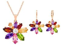 Real rainbow flower jewelry earrings necklace rose gold plated sparkly gems box
