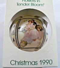 "Vintage Schmid Christmas 1990 ""Flowers in Tender Bloom� Glass Ornament"