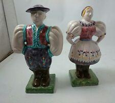 PORTUGUESE PORCELAIN FOLK FIGURINES Vintage Costume People Glazed Cultura Europe