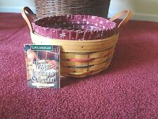 Longaberger 1996 Woven Traditions Darning Basket Combo Liner Protector EUC