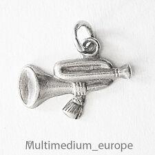 Vintage Jugendstil Charms Silber Anhänger Trompete  silver pendant