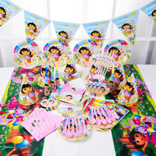 89Pcs Girls Kids Dora Explorer Party Supply Tableware Decoration Birthday Plates