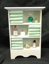 Dollhouse Miniature Handcrafted Deluxe Green Bath Shelf / towels assorted  jars