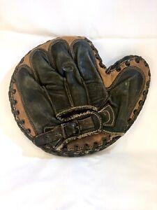 Superb Vintage Antique Black and Tan Leather Catcher's Mitt Glove, C 1920