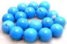 """SALE BIG high quality 16mm Blue Round Natural TURQUOISE beads strand 15""""-los458"""