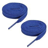 3X(2 paires lacets plats de chaussures de sport pour unisexe bleu fonce C5P9