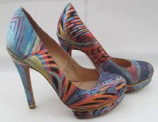 River Island size 4 (37) blue & multi coloured high heel courts with platforms