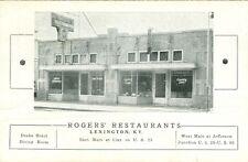 Lexington, KY. Roger's Restaurants 2 piece folder