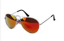 Full Orange Spectrum Lens Aviator Sunglasses Silver Frame With Pouch UV400