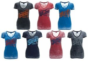 NEW MLB 5th and Ocean Womens Burnout Wash Vneck Shirt