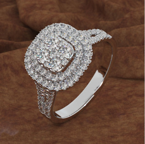 Women White Gold Silver Square Engagement Micro-paved CZ Ring Sz 6-10 Gift P68