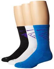 Nike Dri-Fit 3 Pack Fly CREW Socks White/Black/Blue/Grape SX4689-910 sz. L
