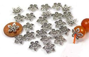 25 Antique Silver Pewter Filigree Bead Caps 11mm