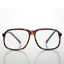 Large Tortoise Square Men's Vintage 80s Reading Glass Diopter 1.75 - HAROLD